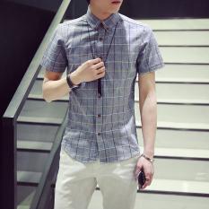 Retail Price Short Sleeved Men Slim Fit Models Korean Style Plaid Shirt Summer Shirt Gray