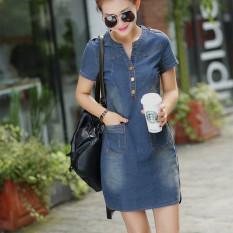 Sale Women S Korean Style Denim Cloth Dress Dark Blue Color Dark Blue Color Oem Wholesaler