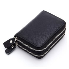 Short Wallet Genuine Leather RFID Blocking Safe Card Holder For women - intl