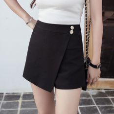 Korean Style Female New Style High Waist Culottes Shorts Black Black Free Shipping