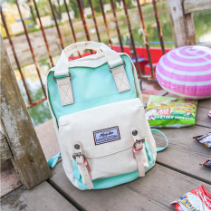Sale Female Spell Color Contrasting Color Canvas Backpack Fresh Green With White Fresh Green With White Oem
