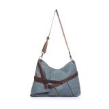 Discount Shoulder Messenger Canvas Bag With Leather Large Capacity Bag Blue Oem Singapore