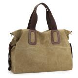 Simple Cotton Canvas Men And Women Shoulder Backpack Large Bag Khaki Shopping