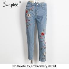 Price Simple Flower Embroidery Jeans Female Light Blue Casual Pants Capris 2017 Autumn Winter Pockets Straight Jeans Women Bottom 40 Blue Oem Original