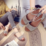 Low Price Simple Soft Bottom Female Summer Flat Sandals Gray