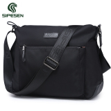 New Sipesen Men S Shoulder Bag Canvas Bag Sports Casual Man Bag Messenger Bag Oxford Cloth Waterproof Nylon Backpack Black Cross Section Trumpet