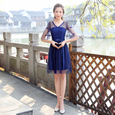 Sister Korean Style Female New Style Bridesmaid Dress S5 Bubble Sleeves Short Dark Blue Color Free Shipping