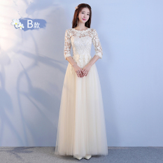 Best Reviews Of Sister Korean Style New Style Bridesmaid Dresses Bridesmaid Dress Lace Champagne Color Long B Section