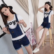 Top Rated Size 25 31 Denim Shorts Pants Suspenders Ladies Jeans Trousers Elastic Braces Bib Overalls For Women Dungarees Blue Intl