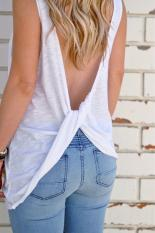 Sale Sleeveless Irregular Camisole Tank Top Women Backless Casual T Shirt Summer Tops Solid Color White Intl Oem Online