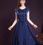 Price Slim Fit Word Pleated Dress Short Sleeved Silk Dress Blue China