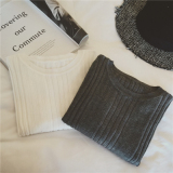 Price Female Slim Fit Pullover Base Shirt Round Neck Sweater Dark Gray Oem China