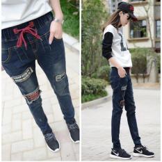 Wholesale Slim Women Jeans Casual Harlan Pants Elastic Waist Pants Korean Slim Trousers Intl