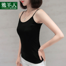 Discounted Sling Vest Female Short Paragraph Outer Wear Korean Style Black White Sleeveless Loose Top Wild Student Knit Bottoming Shirt Summer Sling Black
