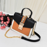 Sale Small Square Korean Style Female New Style Stereotypes Versatile Shoulder Bag Black With Brown Other Branded