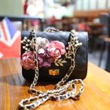 Discount Women S Stylish Floral Rhombus Chain Handbag Black Black China