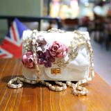 Latest Women S Stylish Floral Rhombus Chain Handbag White White