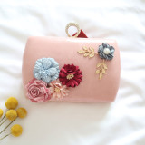 Latest Small Square Shishang Flower Evening Bag Light Pink
