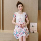 Retail Price Small Wow Maternity Daily Round Print Chiffon Loose Above Knee Dress Red Intl