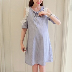 Review Small Wow Maternity Daily Round Stripe Cotton Loose Above Knee Dress Blue Intl China