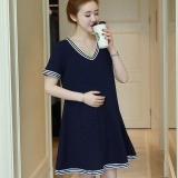 Buy Cheap Small Wow Maternity Daily V Neck Chiffon Loose Above Knee Dress Blue Intl