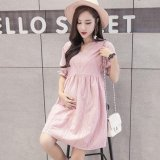 Price Small Wow Maternity Fashion V Neck Solid Color Cotton Loose Above Knee Dress Pink Intl On China