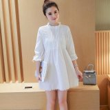 Low Price Small Wow Maternity Going Out Stand Neck Solid Color Cotton Above Knee Dress White Intl