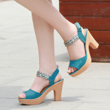 Discount Female Plus Sized Thick Bottomed Waterproof Platform Chunky Heel Pumps Small Sandals Blue China