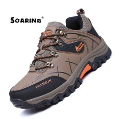 Soaring 2017 Men Mountain Hiking Shoes Big Size Leather Hunting Boots Autumn Winter Mens Outdoor Sport Shoes Plus Size 39 47 Climbing Sneakers Lelaki Berjalan Kasut Intl Discount Code