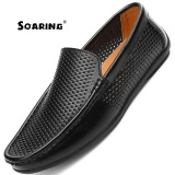 Sale Soaring Genuine Leather Casual Shoes Men Summer Breathable Men Loafers Slip On Men Flats Shoes For Driving Kasut Lelaki Black Intl Soaring Original