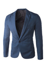 Review Solid Color Casual Suit Jacket Royal Blue Intl On China