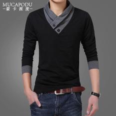 Best Buy Solid Color Men V Neck Plus Sized Base Shirt New Style Long Sleeved T Shirt 811 Black