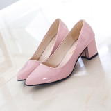 Buy Solid Color Semi High Heeled Pointed Casual Shoes New Style Flat Shoes Pink China