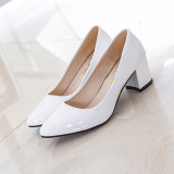 Solid Color Semi High Heeled Pointed Casual Shoes New Style Flat Shoes White Other Discount