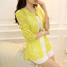 How Do I Get Gelaifei Porous Cape Thin Long Sleeve Cover Up New Style Men S Sweaters Fluorescent Yellow