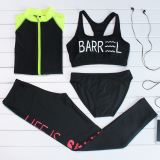 Who Sells Special Female Diving Clothes Four Sets Of Sunscreen Long Sleeved Snorkeling Swimsuit Slim Fit Fitness Clothing Beach Clothing Outdoor Sportswear Black Fluorescent Huang Xiu The Cheapest