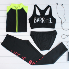 Special Female Diving Clothes Four Sets Of Sunscreen Long Sleeved Snorkeling Swimsuit Slim Fit Fitness Clothing Beach Clothing Outdoor Sportswear Black Fluorescent Huang Xiu Best Price