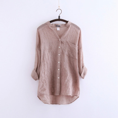 Store Literature And Art Linen Long Sleeve Stand Collar Cotton And Linen Shirts Rush Guard Khaki Khaki Oem On China