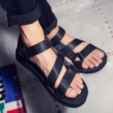 Couple Men And Women Korean Sports New Style Flat Tide Beach Shoes F12 Black Lower Price