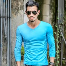 Low Price Sports Plain Winter Men Long Sleeve T Shirt Sky Blue Color Sky Blue Color