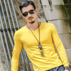 Buy Sports Plain Winter Men Long Sleeve T Shirt Yellow Yellow Other