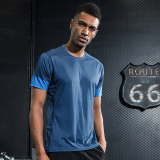 Discount Casual Male Summer Round Neck Quick Drying Clothing T Shirt Navy Blue Oem China