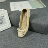 Female Butterfly Knot Xxxxxl Square Head Shoes Shallow Mouth Shoes Beige In Stock