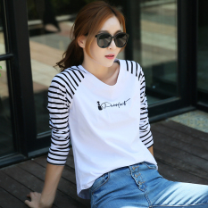 Sale Spring And Autumn Cute Kitten Loose Long Sleeved T Shirt Women Stitching Bottoming Shirt Striped Shirt Embroidered Letters Sweater China
