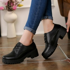 Cheaper Spring And Autumn England Leather Shoes With Casual Shoes With A Single Thick Women Shoes Black Intl