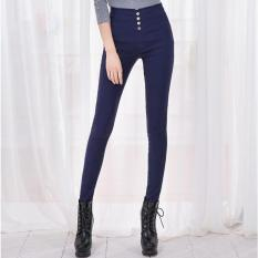 Coupon Spring And Autumn Female High Waist Button Korean Version Elastic Large Size Pencil Pants Feet Navy Blue