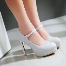 The Cheapest Garden Head Korean Style Gold High Heeled Buckle Shoes Wedding Shoes Silver Online