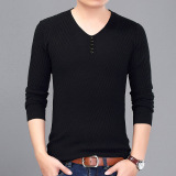 Shop For Spring And Autumn Men S Sweater Solid Color V Neck Sweater Black