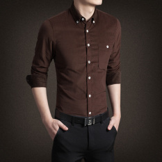 Where Can You Buy Jh Mb Men S Corduroy Long Sleeve Shirt Coffee Color Coffee Color