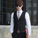 Buy Spring And Autumn Models Korean Style Slim Fit Men S Suit Vest Male Business Casual Career Suit Vest England Vest Waistcoat Black Four Buckle Oem
